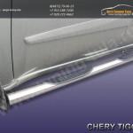 Комплект порогов труба d76 с накладками Chery TIGGO 2013 +