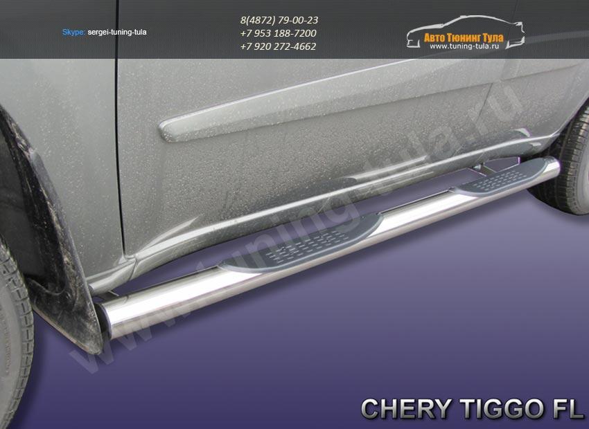 Комплект порогов труба d76 с накладками  Chery TIGGO 2013 +/арт.516-8