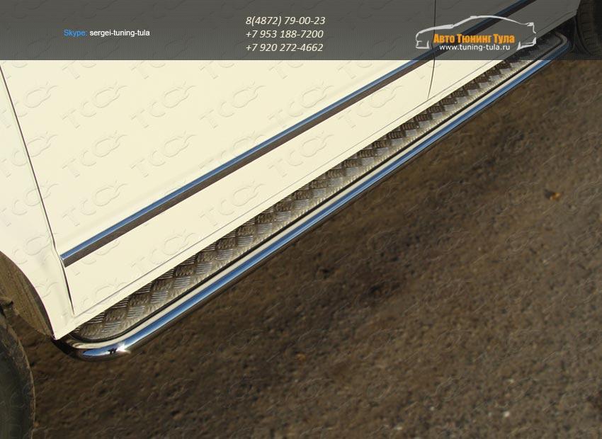Пороги d42 с площадкой алюминиевый лист VW T5 Multivan 2013+ / арт.727-4