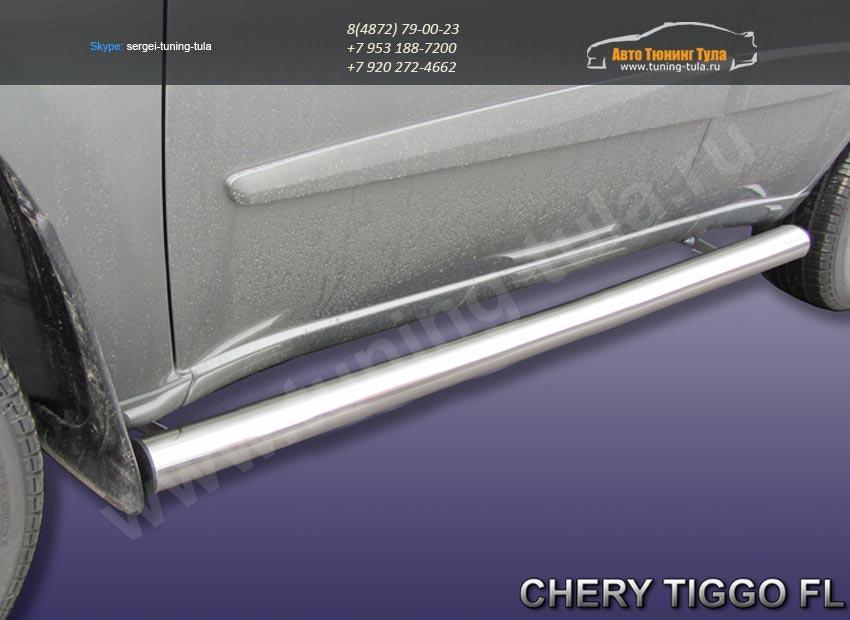Комплект порогов труба d76  Chery TIGGO 2013 +/арт.516-7