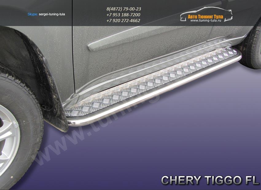 Комплект порогов d42 с листом Chery TIGGO 2013 +/арт.516-5