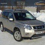 Защита переднего бампера 75х42 овальная Nissan X-trail Т31 2011+