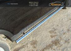 Пороги овальные 75х42 мм с проступью Ssang Yong Actyon 2014+ /арт.729-4