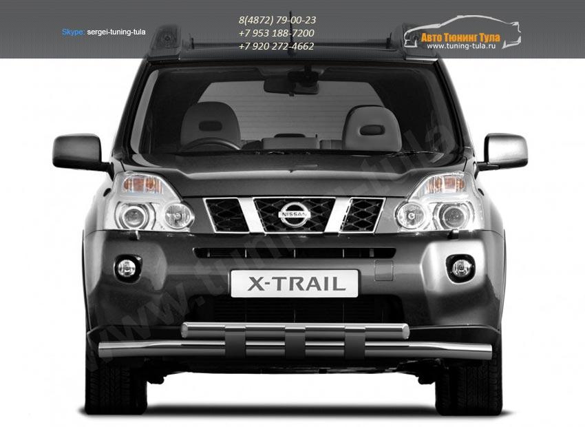 Защита переднего бампера d63 с пластинами Nissan X-trail Т31 2011+ /арт.731-1