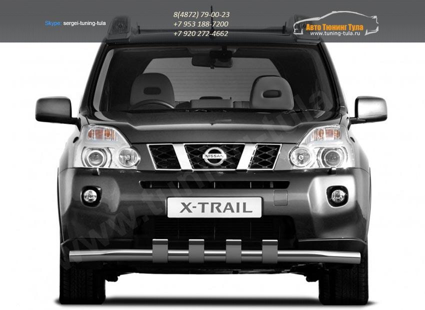 Защита переднего бампера d63 с зубьями Nissan X-trail Т31 2011+ /арт.731