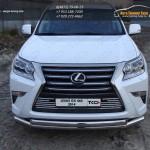 Защита переднего бампера двойная  d76.1/75 мм Lexus GX460 2014+