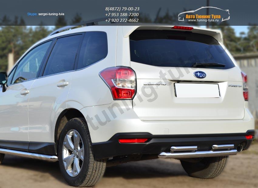 Защита заднего бампера d63 (дуга) d42х2 (дуга) Subaru Forester 2013+ / арт.733-2