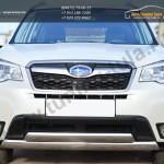 Защита переднего бампера 75х42  двойная ( овальная дуга) Subaru Forester 2013+