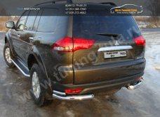 Защита задняя уголки двойные d76,1/42,4 мм. Mitsubishi Pajero Sport 2013+/арт.735-9