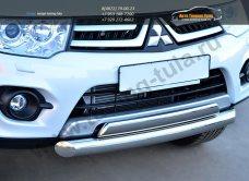 Защита переднего бампера двойная d76 (дуга) 75х42 (дуга) Mitsubishi Pajero Sport 2013+ / арт.734-9