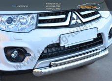 Защита переднего бампера двойная d76/42 (дуга)  Mitsubishi Pajero Sport 2013+ / арт.734-10