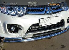 Защита переднего бампера d63 (секции)  d42 (уголки)  Mitsubishi Pajero Sport 2013+ / арт.734-11