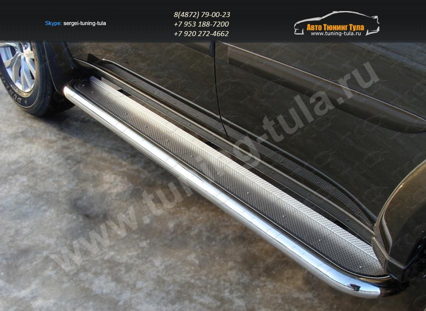 Пороги с площадкой (нерж. лист) 60,3 мм. Mitsubishi Pajero Sport 2013+/арт.735-5