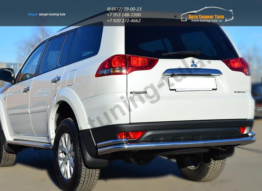 Защита заднего бампера d63 (волна) d42 (уголки) Mitsubishi Pajero Sport 2013+ / арт.734-3