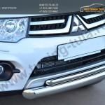 Защита переднего бампера двойная d76/42 (дуга)  Mitsubishi Pajero Sport 2013+