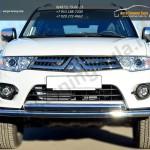 Защита переднего бампера двойная d63(секции) d63(дуга)Mitsubishi Pajero Sport 2013+