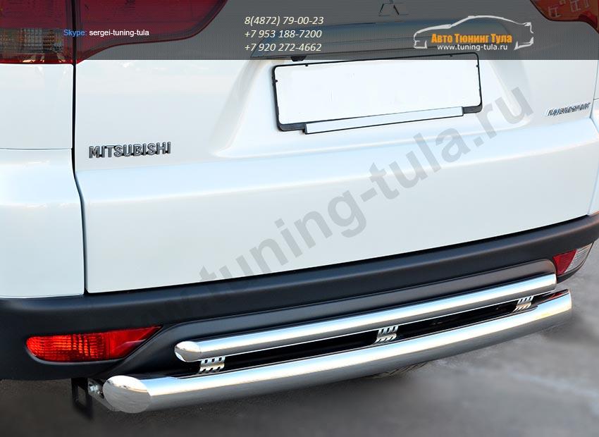 Защита заднего бампера d76 (дуга) d42 (дуга) Mitsubishi Pajero Sport 2013+ / арт.734-1