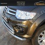 Защита переднего бампера двойная d76,1/75 мм. Mitsubishi Pajero Sport 2013+