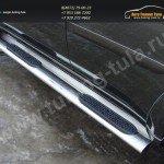 Пороги овальные с накладкой d120х60 мм. Mitsubishi Pajero Sport 2013+