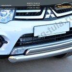 Защита переднего бампера двойная d76 (дуга) 75х42 (дуга) Mitsubishi Pajero Sport 2013+