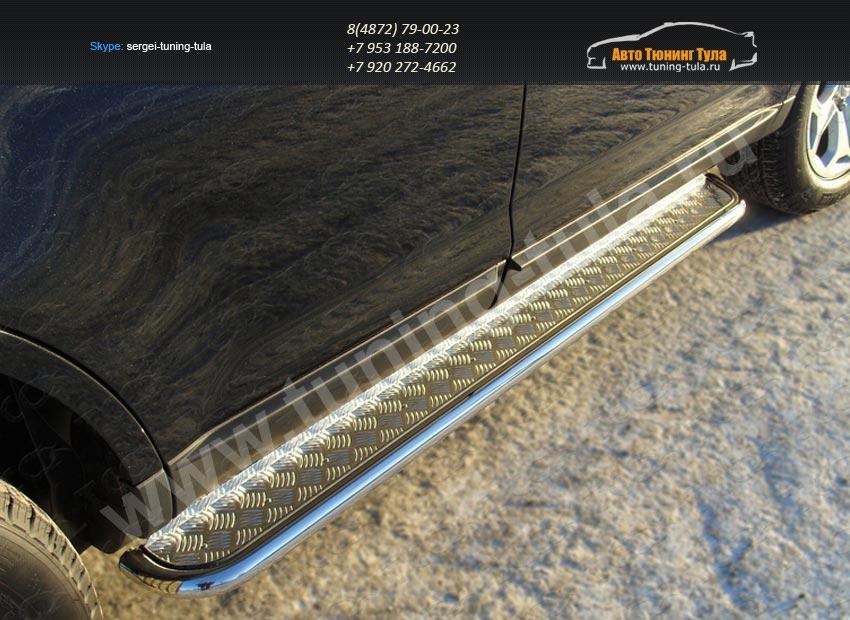 Пороги подножки труба с площадкой d60 Ford EDGE 2014+/арт.738-4