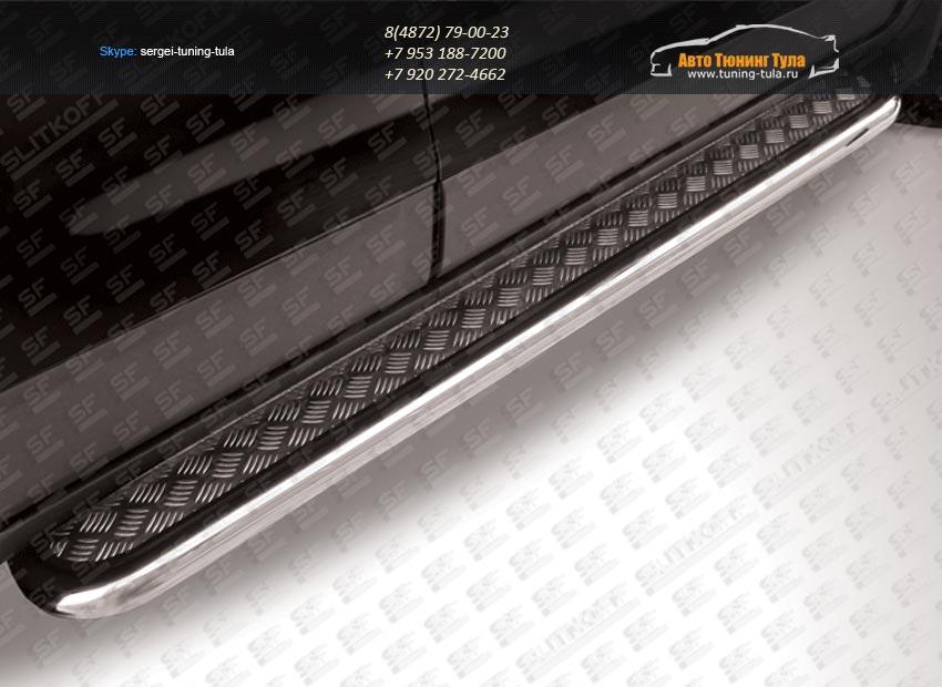 Пороги d57 с алюминиевым листом Chevrolet Captiva 2013+ / арт.739-3