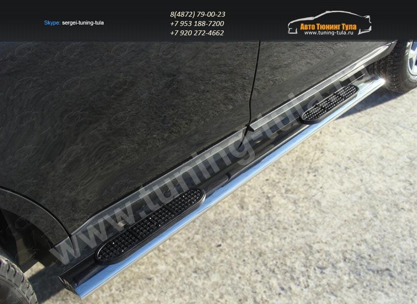 Пороги/подножки овал с накладками d120x60 Ford EDGE 2014+/арт.738-3
