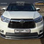 Накладки на решетку радиатора / бампера d16 мм Toyota Highlander 2014 +