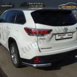 Защита задняя (уголки овальные) 75х42 мм Toyota Highlander 2014 +