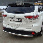 Защита задняя овальная 75х42 мм Toyota Highlander 2014 +