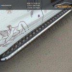 Пороги труба d42,4 мм с листом(алюминий) Toyota Highlander 2014 +