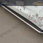 Пороги труба d42,4 мм с листом из нерж. стали Toyota Highlander 2014 +