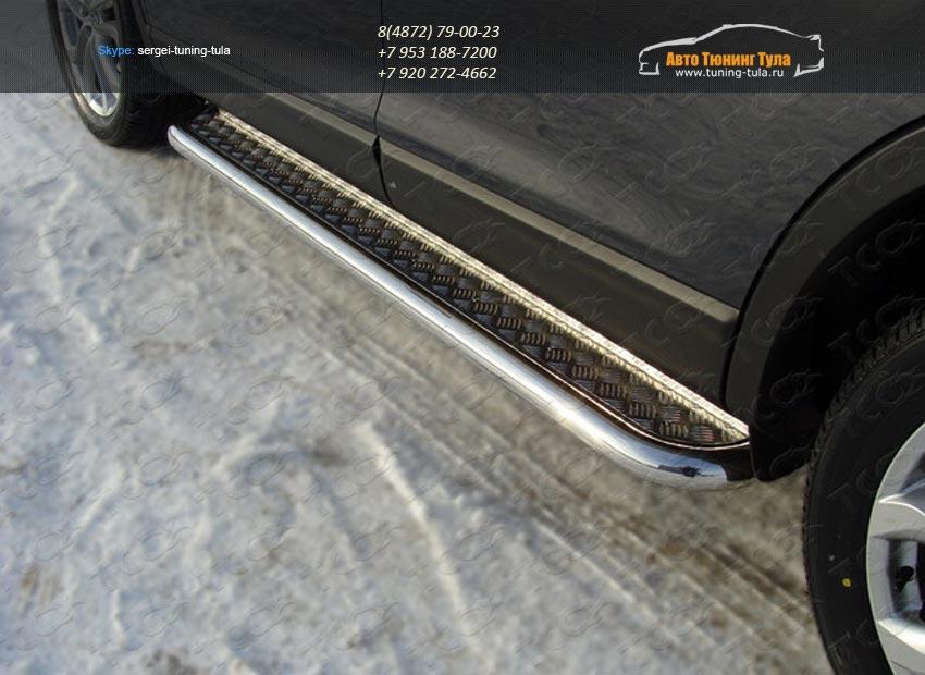Пороги с площадкой (алюминий) 60,3 мм Mazda CX-9 2013+ /арт.741-2