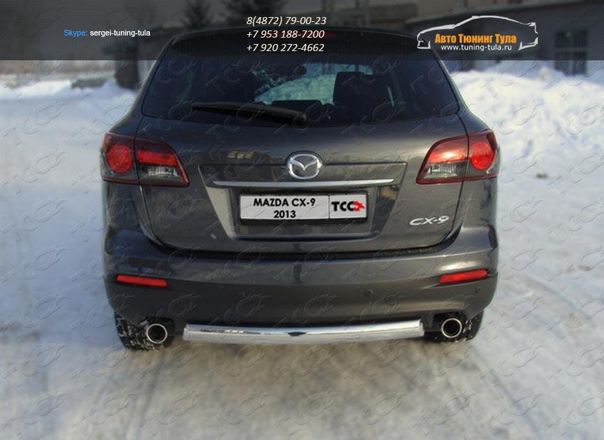 Защита задняя (овальная) 75х42 мм Mazda CX-9 2013+ /арт.741