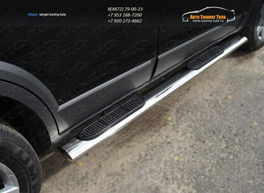 Пороги овальные с накладкой 120х60 мм Mazda CX-9 2013+ /арт.741-4