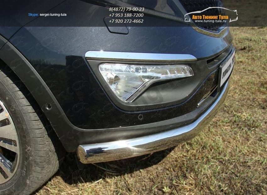 Защита передняя нижняя (овальная) 75х42 мм Kia Sportage 2014+ / арт.743-10