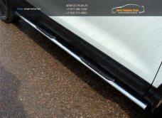 Пороги овальные с накладками 75х42 мм Nissan Qashqai 2014 +/арт.740-12