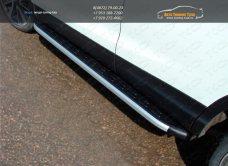Пороги алюминиевые с пластиковой накладкой Nissan Qashqai 2014 +/арт.740-5-1