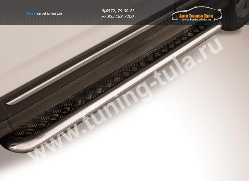 Пороги с листом-черные d57 Chery Tiggo 5 2014+/арт.701-12