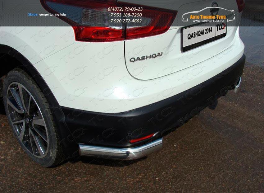Защита задняя (уголки овальные) 75х42 мм Nissan Qashqai 2014 +/арт.740-6