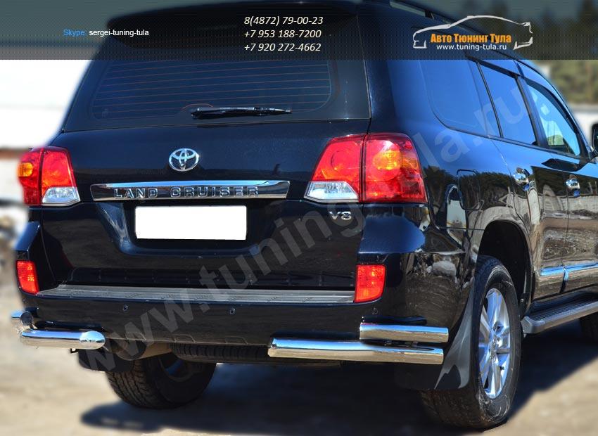 Защита заднего бампера уголки d76(секции) d63 (секции)Toyota LC 200 с 2012г.в./арт.399-7
