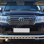 Защита переднего бампера d76 (секции) d42 (уголки) с зубьями  Toyota LC 200 с 2012г.в.