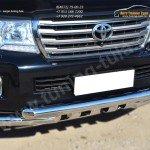 Защита переднего бампера d76 (дуга) d76х2 (дуга)+клыки Toyota LC 200 с 2012г.в.
