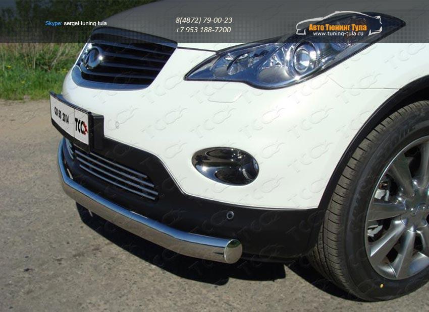 Защита передняя нижняя (овальная) 75х42 мм Infiniti QX 50 2014+ /арт.745-2