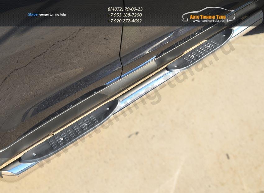 Пороги труба d76 с накладкой (вариант 1) KIA SPORTAGE 2014- /арт.253-6