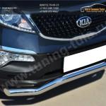 Защита переднего бампера d63 (волна) c декор надписью KIA SPORTAGE 2014-
