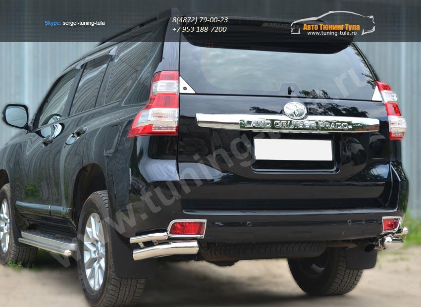 Защита заднего бампера уголки d76(секции) d42 (секции)  Toyota Land Cruiser Prado 150 2014+ / арт.153-5