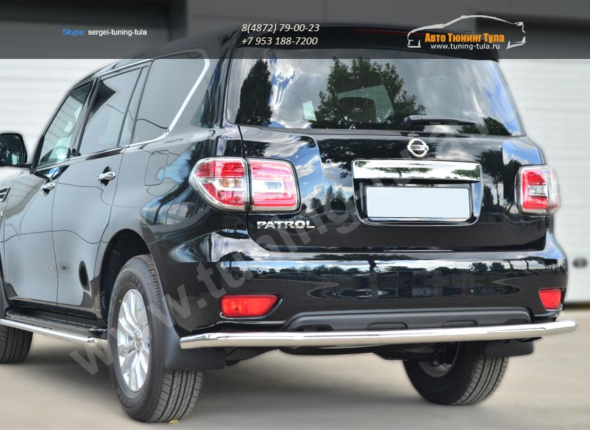 Nissan Patrol 2014-Защита заднего бампера d63 (секции)/ арт.113-4