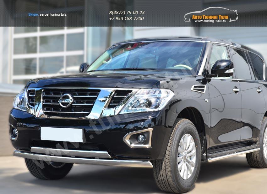Nissan Patrol 2014- Защита переднего бампера d75х42 (дуга) 75х42 (дуга) /арт.113-12