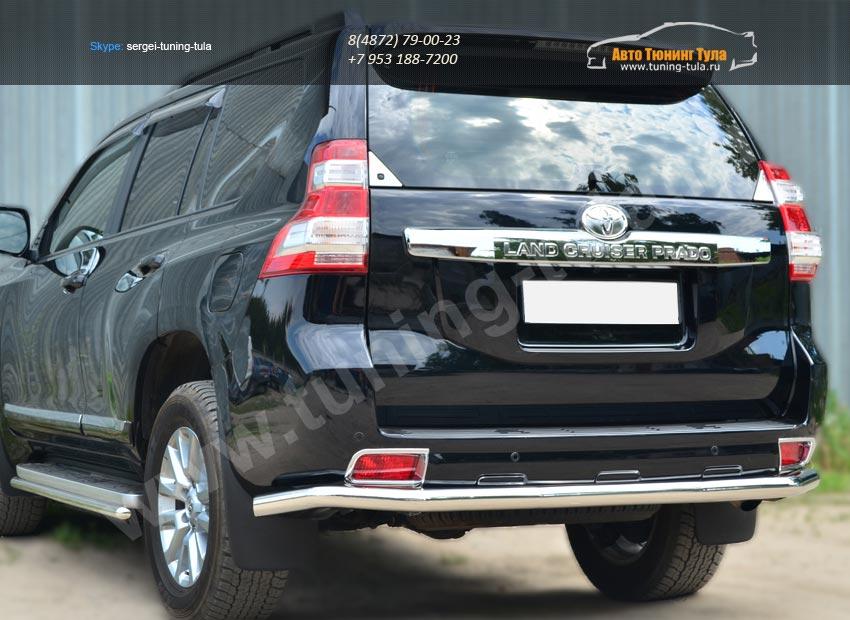 Защита заднего бампера d63 (секции) Toyota Land Cruiser Prado 150 2014+ / арт.153-7